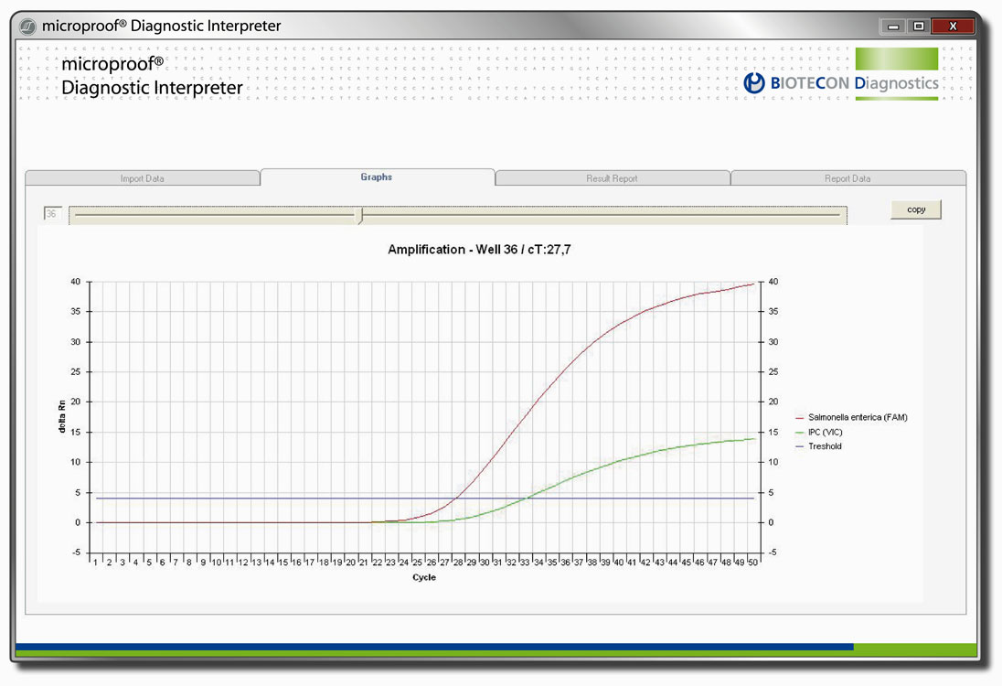 Screenshot microproof Diagnostic Interpreter: Graphische Darstellung des Amplifikationsverlaufs bei der Auswertung